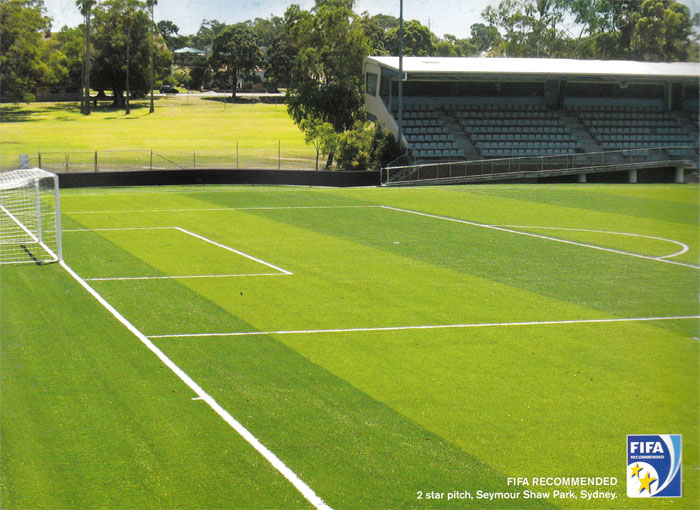 2 Star FIFA Soccer Field Pitch at Seymour Shaw Park, Sydney using Synthetic Turf.