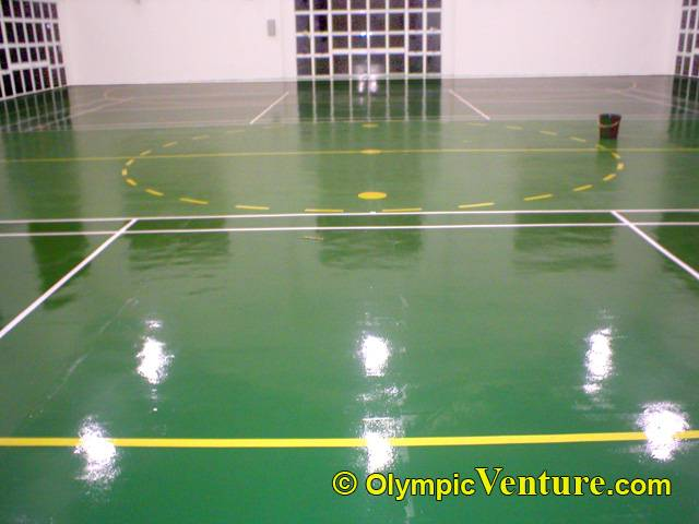 university technology malaysia's rubberized floor with futsal and badminton playing lines