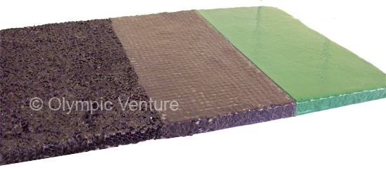 side view of 8mm - 10mm Venture Sportex PU Membrane System Rubberized Floor