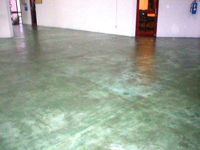 acid stain flooring with green colour