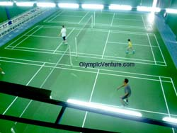 17 Olymflex Rubberized Badminton courts in Dato' Lee Chong Wei Arena / Sports Arena Sentosa, Old Klang Road