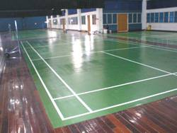 Four badminton rubberized floor courts for Penang Buddhist Association.