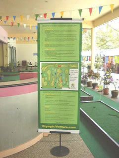 Banner with English/Malay Rules and Mini Golf Layout
