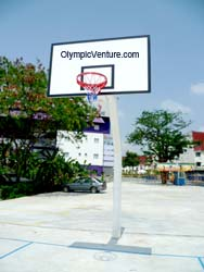 view of basketball goal post for Dato' Lee Chong Wei Arena / Sports Arena Sentosa, Old Klang Road