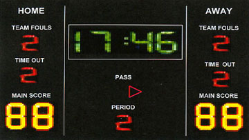 comprehensive indoor soccer or futsal electronic scoreboard