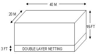 futsal court dimensions for netting with double layer netting from ground up