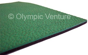 side view of green rubberized floor that comes in rolls.