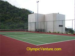 rubberized cushioned tennis court for equatorial hotel, Penang