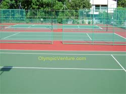 2 Plexipave coating tennis courts for Labuan Club, Sabah