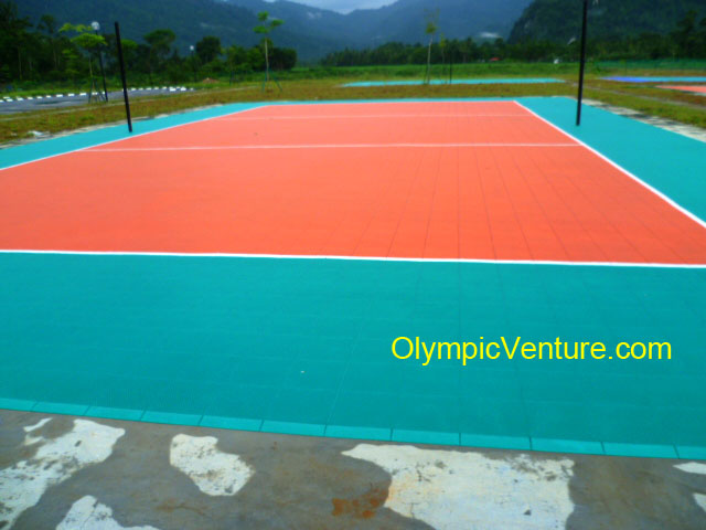 Outdoor Interlocking Techtiles Volleyball Court For A Shcool In Perak.