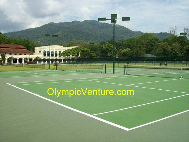another view of 2 Olymflex rubberized cushioned tennis court for Penang Sports Club, PSC