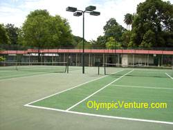 2 tennis Olymflex rubberized cushioned tennis court for Penang Sports Club