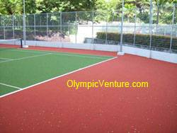 another view of synthetic turf tennis court for Platino Condominium