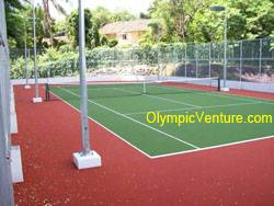 synthetic turf tennis court for Platino Condominium