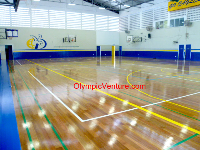 Pneumatic Hardwood Timber Floor with Rubberised Underlay System for Gymnasium at Dalat International School, Penang.