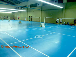 another view of 4 Olymflex rubberized badminton courts for Ritz Badminton Hall