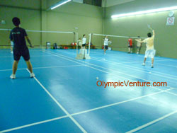 4 Olymflex rubberized badminton courts for Ritz Badminton Hall