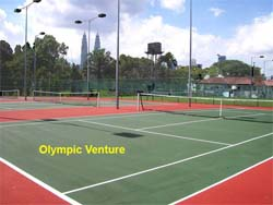 Another view of the resurfaced 3 tennis courts using Plexipave