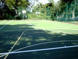 St. Christopher's multi-purpose court using Plexipave from USA.