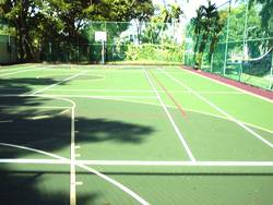 Another view of St. Christopher's multi-purpose court using Plexipave from USA.